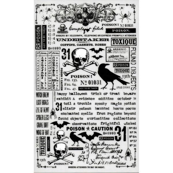 TIM HOLTZ HALLOWEEN REMNaNT RUBs - Pkg of 2 -  2018 HALLOWeeN !!!  Craft Embellishments - Rub-Ons
