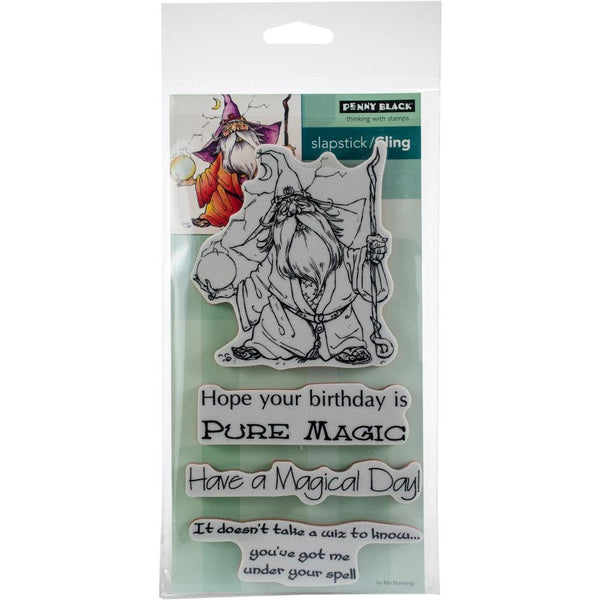 "The WIZ - PENNY BLACK Stamp Set - 4 Pieces of Mounted Cling RUbber stamps -  "" The Wizard ""  Theme"
