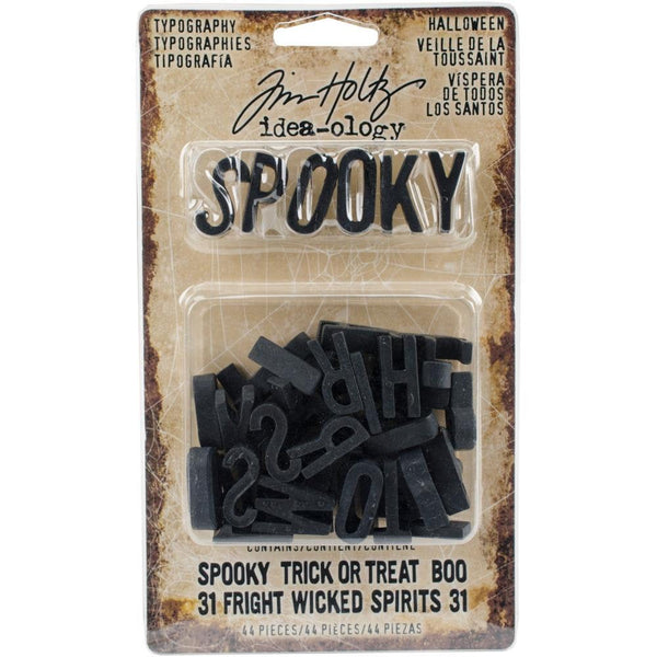 Tim Holtz TYPOGRAPHY LETTERS for  HALLOWEEN  by Tim Holtz - Papercraft Embellishments -   New and In Stock Now !!