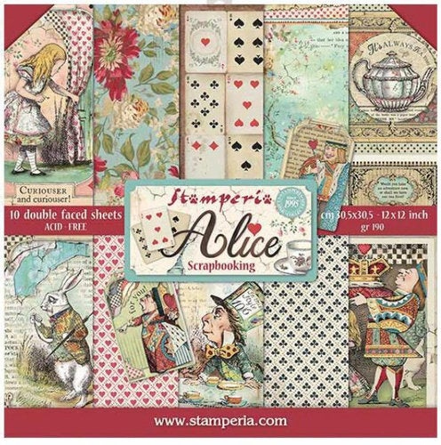 ALICE in WONDERLAND 12x12 by STAMPERIA = Classic  Collection - Retiring Collection !  Hurry !!