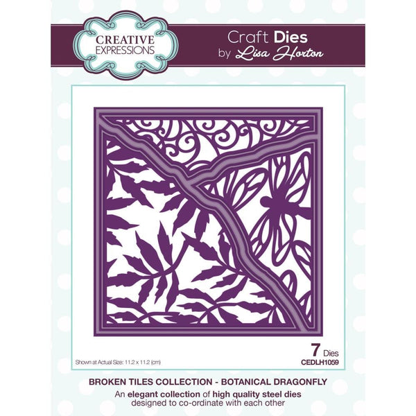 BOTANICAL DRAGONFLY DIEs by Creative Expressions - New  !! Broken Tiles Collection - 7 Dies in set