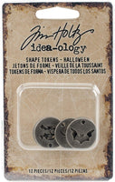 Sale !! 2017 HALLOWEEN SHAPE TOKENs- HALLOWEEN  by Tim Holtz - Papercraft Embellishments -   Retired item !