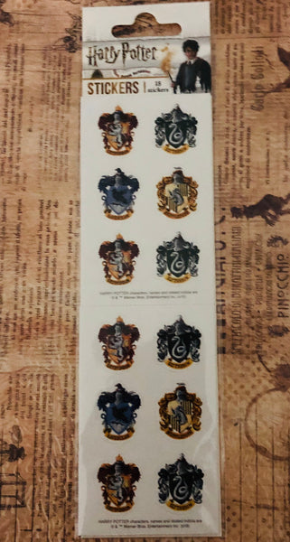 HARRY POTTER HOUSE CRESTs - Pack of 18 STICKERs - by Paper House-  Collector's Edition Set  - Journals and Cards !