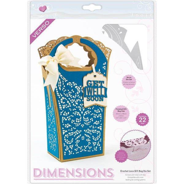 CROCHET LACE GiFT BAGs  by TONiC STUDIOs- VERsO DIMENSIONS - Detailed Die  Set -  Hard to Find !  Last One !!