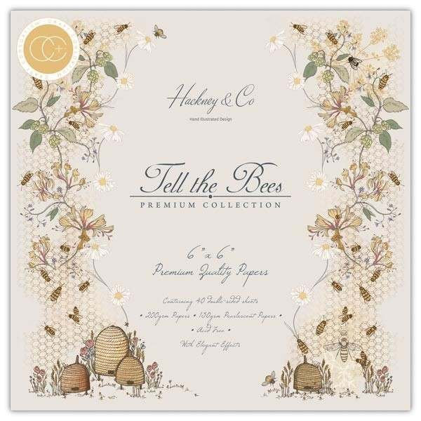 TELL the BEES 6x6 by  CRAFT CONSORTiUM - Cardstock 40 sheets 6x6 Size !!  Imported ! - All New !!