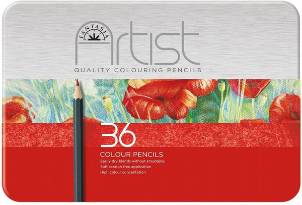 FANTASIA PREMIUM ARTIST 36 Colored Pencils  in a Storage Tin !!   New !!  Pre-Sharpened Pencils -  ULTiMATE QUALiTY !