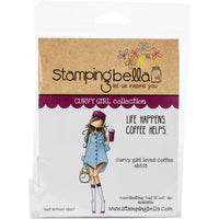 CURVY GIRL LOVEs COFFEE   -Set by STAMPiNG BeLLA -  All New !!  2 stamps in set - Coffee Lovers  EB853