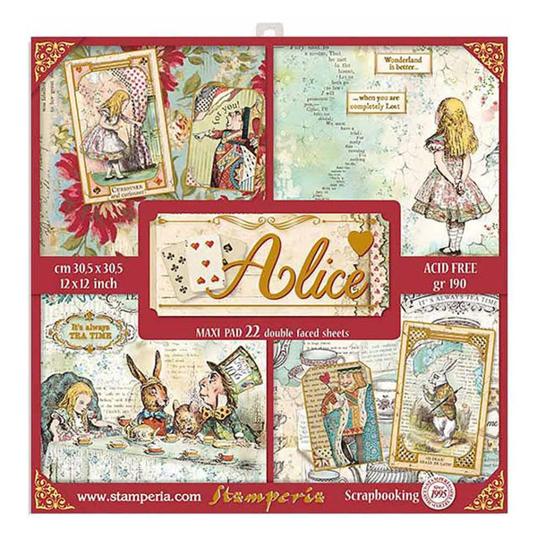 ALICE  GOLD - New !! 22 Page PaPER Pad  12x12 by STAMPERIA = Classic  Collection - Now in Stock !! **