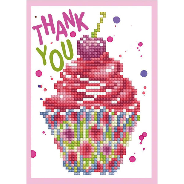 DIAMoND DoTZ - CUPCAKE THANK YOU Card  Kit - All New !!  Tool set sold separately