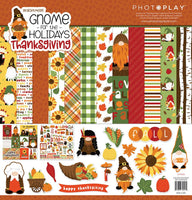 GNOME for THANKSGIVING CARDSTOCK -  GNOMEs - by Photoplay Papers - 12x12 Cardstock & STICKERs - NeW !!