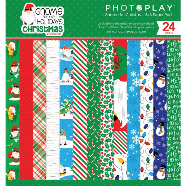GNOME for CHRISTMAS 6x6 - HOLIDAYs  CARDSTOCK -  GNOMEs - by Photoplay Papers -6x6 Paper Pad