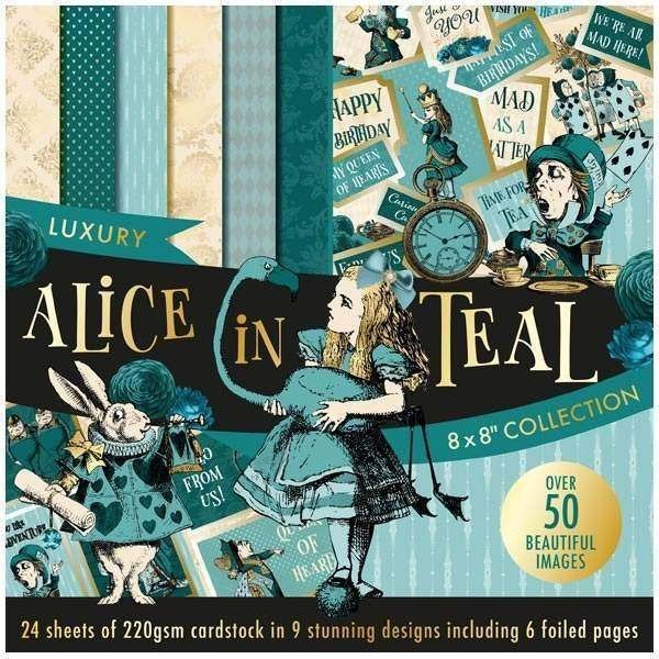 "ALICE in TEAL 8""x8"" ~ CARDSTOCK Paper Pad - New and Rare !! Imported !!"