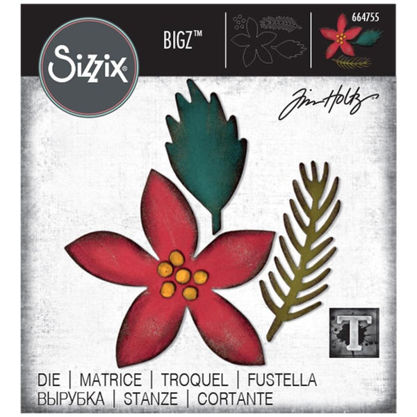 FESTIVITIES - POINSETTiA - BIGz Die  by TiM HOLTZ - BiGZ Die from SiZZIX   # 664755  - HOLIDAYS 2020   New !!!