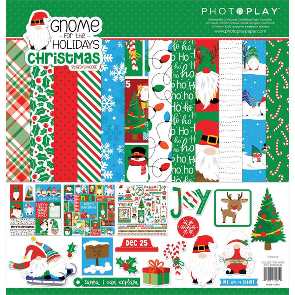 GNOME for CHRISTMAS - HOLIDAYs  CARDSTOCK -  GNOMEs - by Photoplay Papers - 12x12 Cardstock & STICKERs - NeW !!