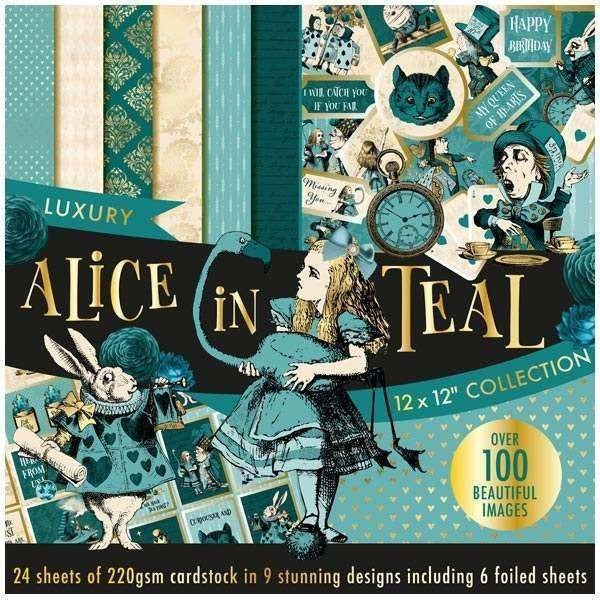 "ALICE in TEAL ~ CARDSTOCK Paper Pad - 12x12 "" - New and Rare !! Imported !!"