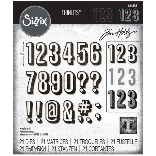 Tim HOLTZ -SHADOW NUMBERS - Alpha-Numeric   THINLITs DIEs  from SIZZiX  # TH664808     - New !!