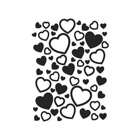 SCATTERED HEARTS - EMBOSSING FOLDeR by Darice -VALENTINEs or -GREaT WEDDiNG BRIDe FoLDER