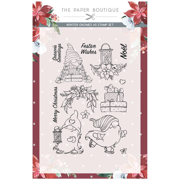 WINTER GNOME STAMPs Set - by Paper Boutique - NEW !!  Cute Gnome Dressed Like Santa with Holiday Wishes !