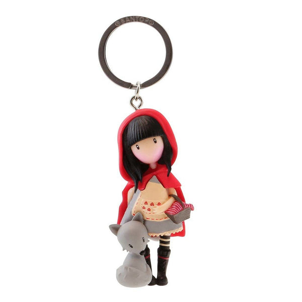 "GORJUSS GIRLs "" RED RIDING HooD ""  KEYRiNG / KeyFob - Molded Doll on Keyring. by  Santoro of London - New !!"