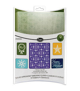 CHRISTMAS WINTER SET #3-from Sizzix  Lovely Embossing Folders - A2 and  4 smaller folders
