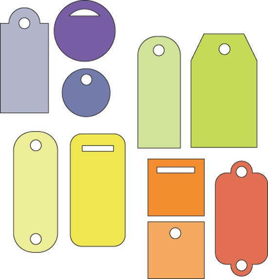 CUTTLEBUG CuTTinG DiEs -  TINY TAGS 4 Pc Set - These are 2x2 tiny tags - Hard to find - Retiring