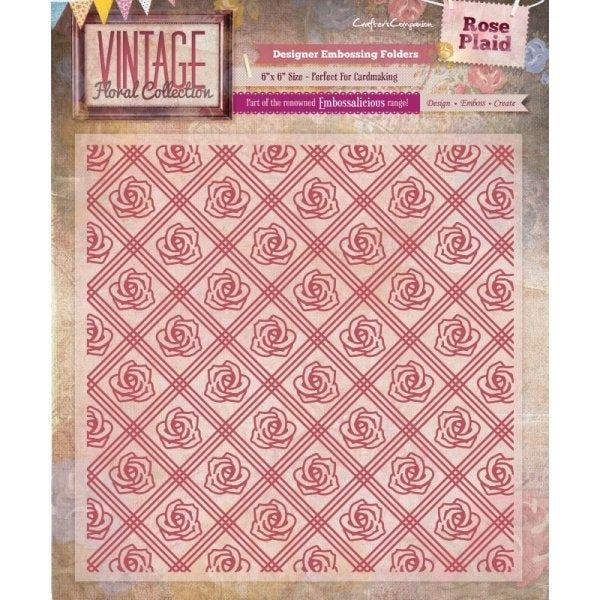 "VINTAGE ROSE PLAID EMBOSSiNG  Folder - 6""x6""   for Cuttlebug , Xcut, Sizzix or embossing machines"