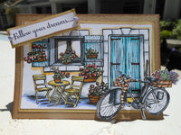 PROVENCE Stamp Set - by SHEENA DOUGLaSS -  Sidewalk Cafe' , French, Bicycle, Wine Country theme - Retired and Rare !!