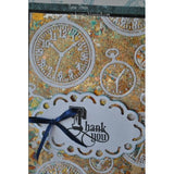 "STITCH in TIME - CLOCKs - POCKETWATCHEs - EMBOSSING FOLDERs  New !! - 8""x8""  Square Design - Rare !!"