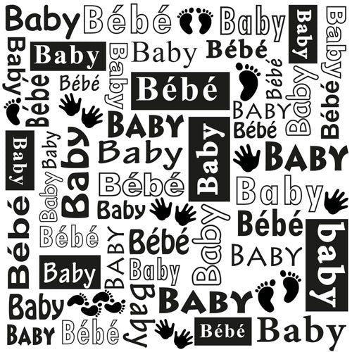 "BABY WORD MULTI-LANGUAGE  TEXT -  Nellie's Choice  - Nellie Snellen EmBOSSING FoLDER-  6""x6""  -  New and So Cute !"