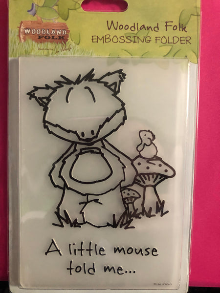WOODLAND FOLKS EMBOSSiNG FOLDER-  Cute Little FOX - A2 size - from DoCrafts