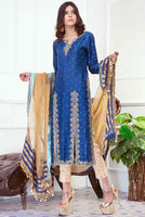 <span>Heer</span> Navy Blue Raw Silk Dress with Long Shirt front Open  and Jamawar Straight Pant