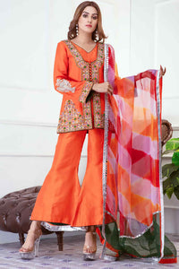 <span>Her Highness</span> Orange Raw Silk Short Jacket Dress and Boot-cut Long Tail Bottom