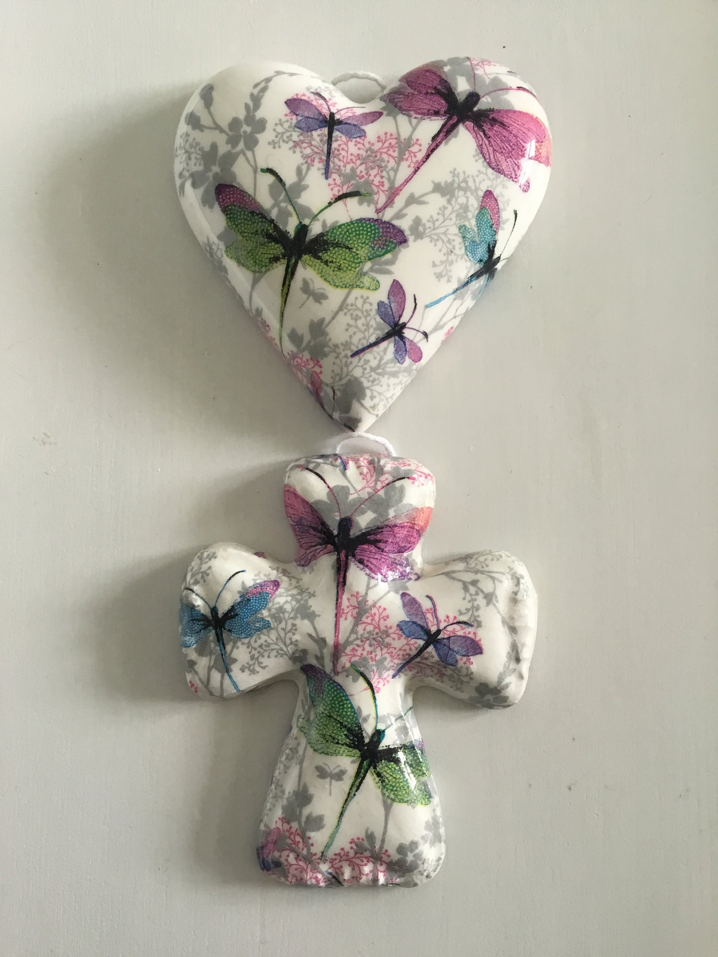 Decoupaged  Hanging Heart & Matching Cross