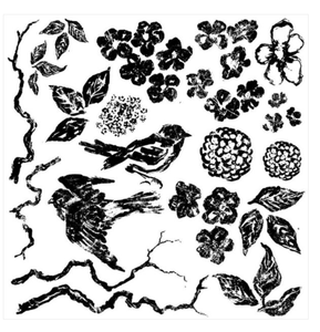 BIRDS BRANCHES BLOSSOMS 12×12 DECOR STAMP™