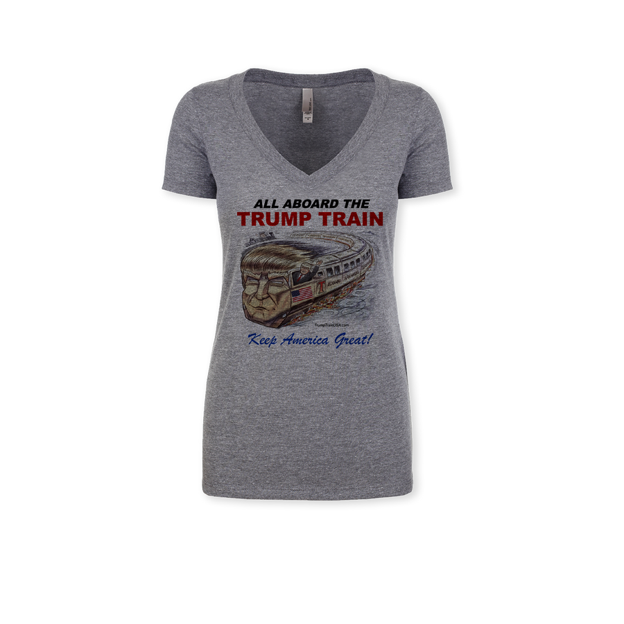 All Aboard The TRUMP TRAIN - Ladies Tri-Blend V-Neck Tee