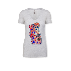 Trump Sprinkles - Ladies Tri-Blend V-Neck Tee