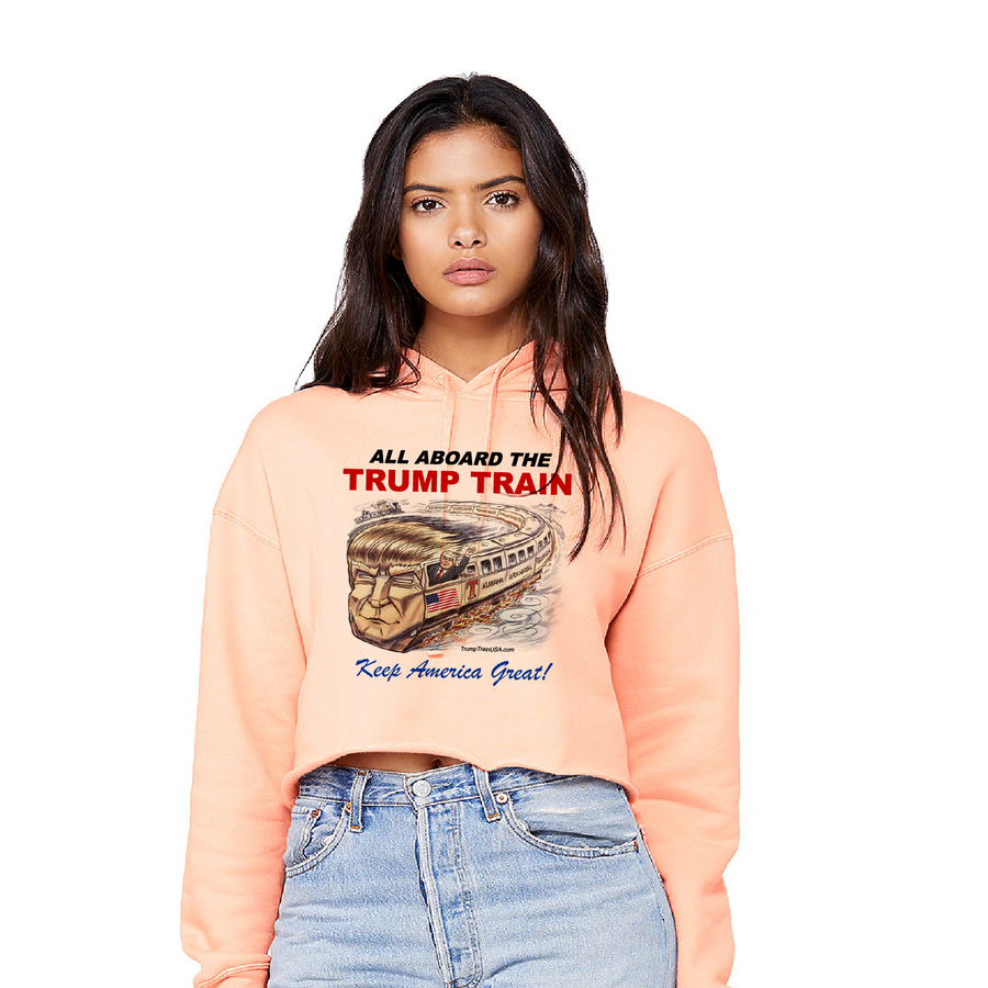 All Aboard the TRUMP TRAIN - Ladies' Cropped Fleece Hoodie
