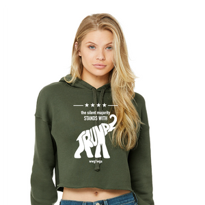 Silent Majority Stands With Trump - Ladies' Cropped Fleece Hoodie