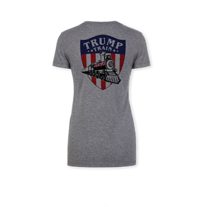 Trump Train Emblem Color - Ladies Tri-Blend V-Neck Tee