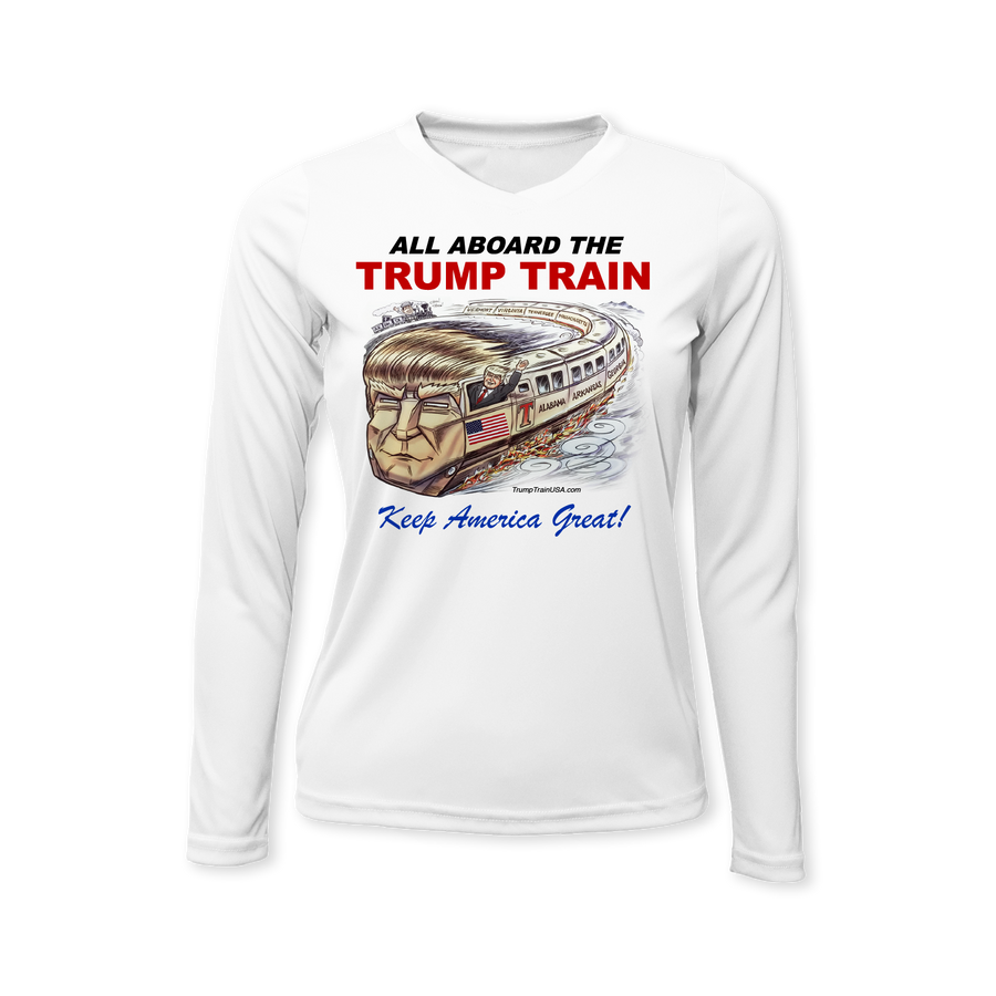 All Aboard the TRUMP TRAIN - Performance Ladies Long Sleeve T-Shirt