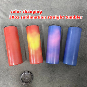 READY TO SHIP Color Changing 20 oz Skinny Straight (Non-tapered) Tumblers