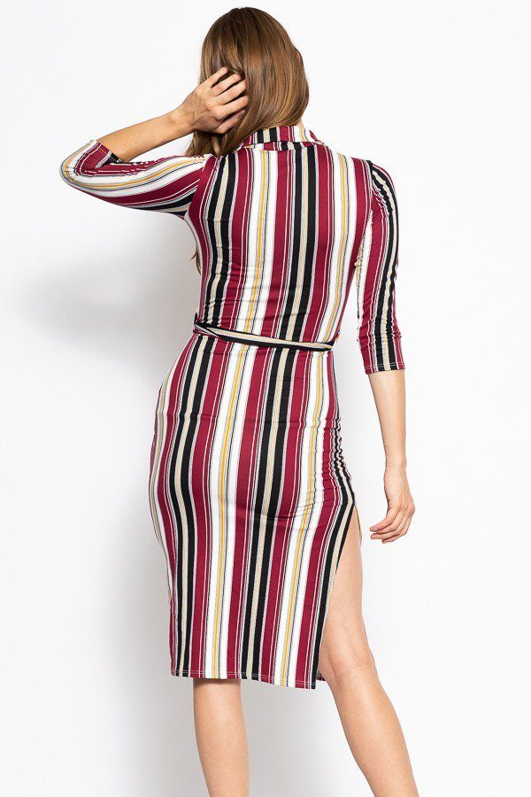 Stripes Print, Midi Tee Dress With 3/4 Sleeves, Collared V Neckline, Decorative Button, Matching Belt And A Side Slit - J NILLY