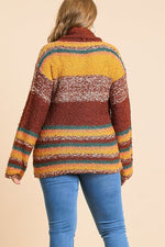 Plus Size Striped Fuzzy Knit Long Sleeve Pullover - J NILLY