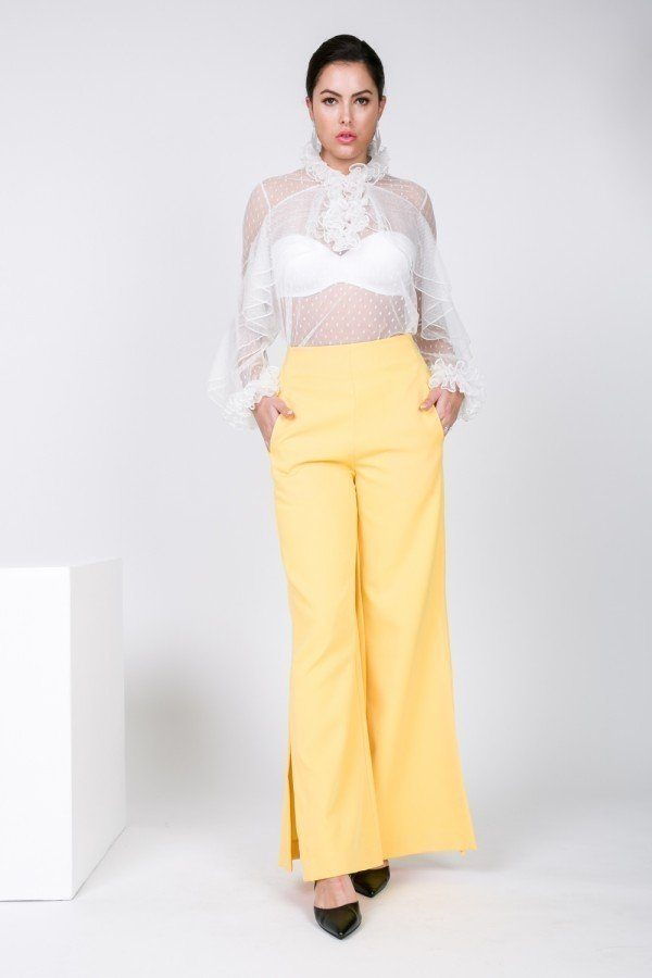 Side Slit Detail Wide Leg Pants - J NILLY