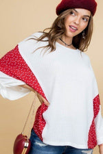 Round Neck 3/4 Rolled Up Sleeve Contrast Woven Heart Print Knit Top - J NILLY