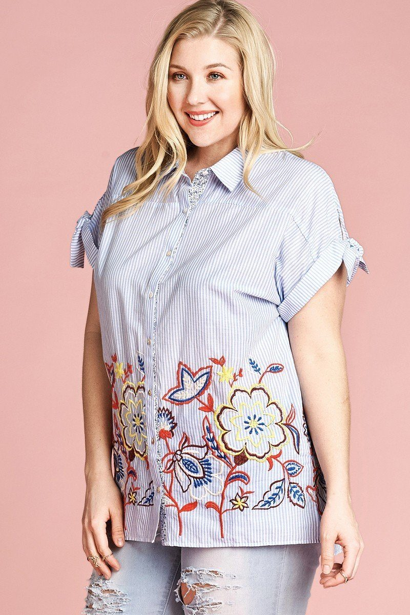 Plus Size Striped Buttoned Down Collared Blouse - J NILLY