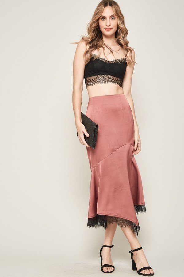 Satin Fringe Midi Skirt - J NILLY