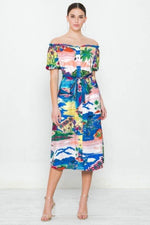 Printed Off the Shoulder Dress - J NILLY
