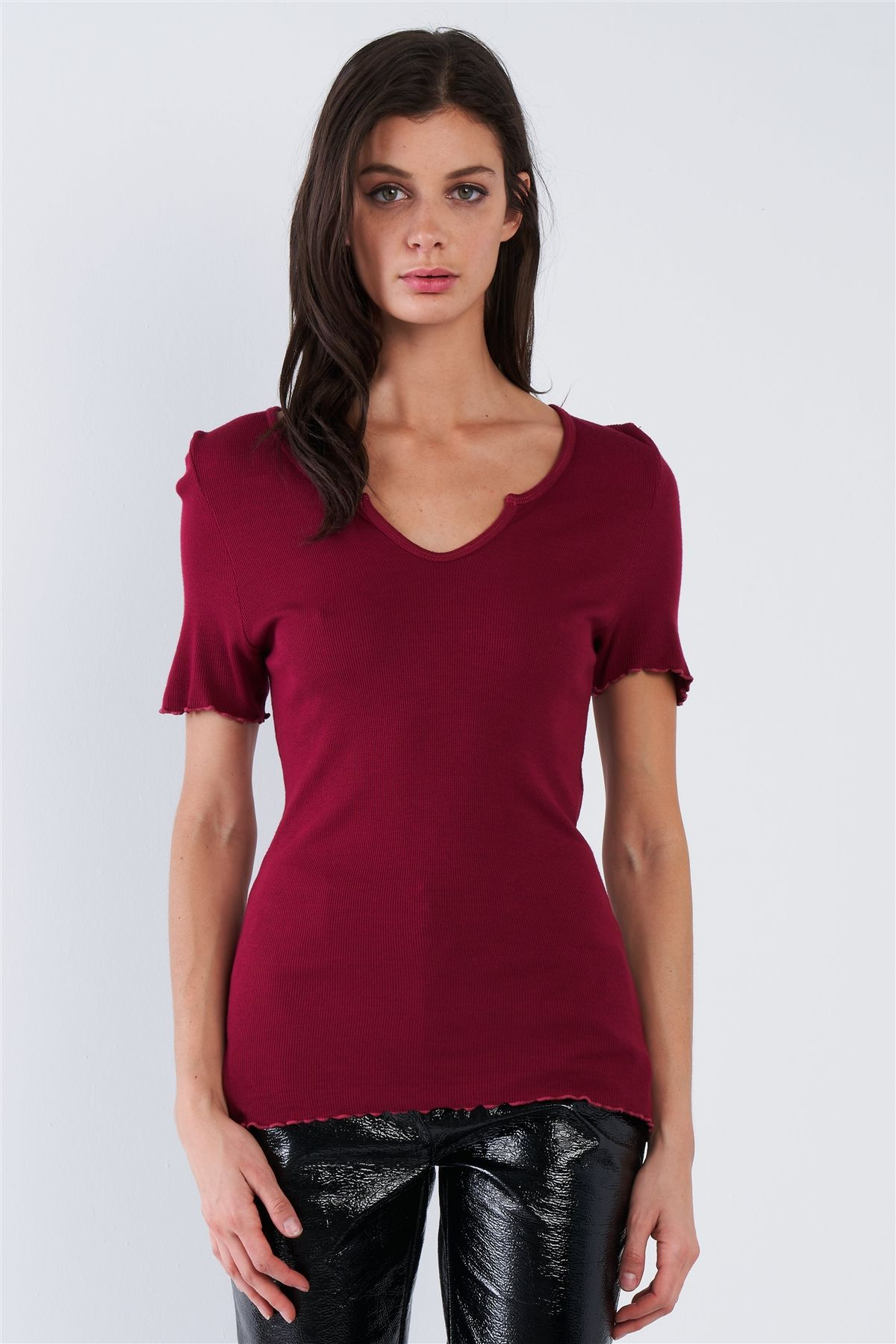Cherry Red Ribbed V-neck Top - J NILLY