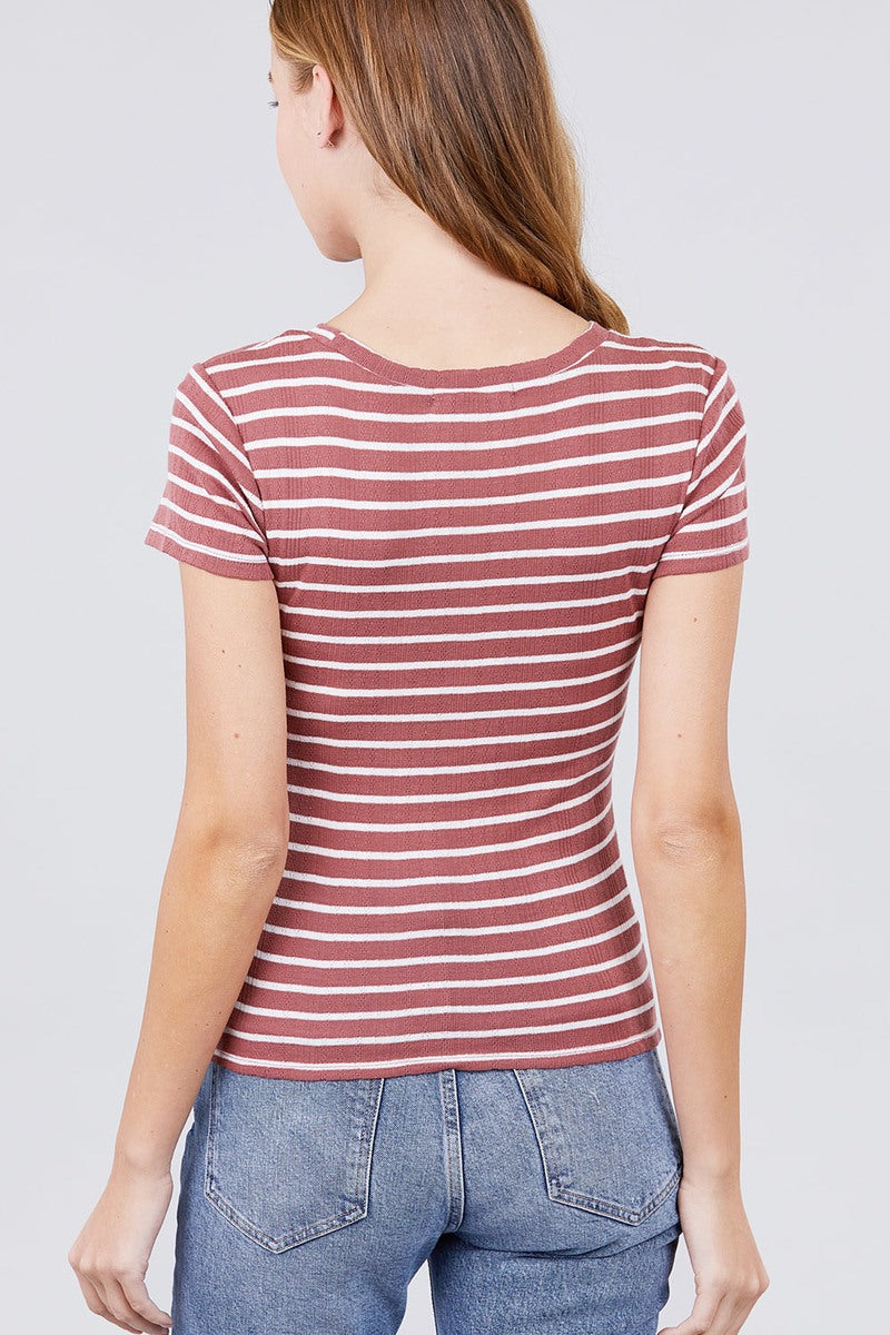 Short Sleeve Crew Neck Stripe Pointelle Knit Top - J NILLY